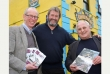 Chris Robinson and Bernard Mills launch their latest books at the Clovelly Bay Inn, with landlord Rod Hillman